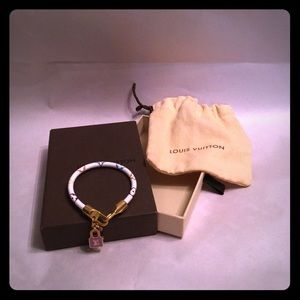Louis Vuitton White Leather Charm Bracelet